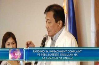 Pagdinig sa impeachment complaint vs Pres. Duterte, sisimulan na sa susunod na linggo