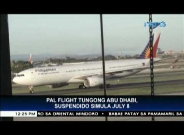 PAL announces temporarily suspension of Abu Dhabi flights starting July 8