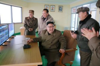 """This undated picture released by North Korea's official Korean Central News Agency (KCNA) on March 19, 2017 shows North Korean leader Kim Jong-Un (C) inspecting the ground jet test of a newly developed high-thrust engine at the Sohae Satellite Launching Ground in North Korea. North Korea has tested a powerful new rocket engine, state media said on March 19, with leader Kim Jong-Un hailing the successful test as a """"new birth"""" for the nation's rocket industry. / AFP PHOTO / KCNA VIA KNS / STR / South Korea OUT / REPUBLIC OF KOREA OUT   ---EDITORS NOTE--- RESTRICTED TO EDITORIAL USE - MANDATORY CREDIT """"AFP PHOTO/KCNA VIA KNS"""" - NO MARKETING NO ADVERTISING CAMPAIGNS - DISTRIBUTED AS A SERVICE TO CLIENTS THIS PICTURE WAS MADE AVAILABLE BY A THIRD PARTY. AFP CAN NOT INDEPENDENTLY VERIFY THE AUTHENTICITY, LOCATION, DATE AND CONTENT OF THIS IMAGE. THIS PHOTO IS DISTRIBUTED EXACTLY AS RECEIVED BY AFP.    /"""