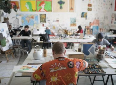 Erich Tressler works on his drawings at Art Brut Center Gugging in Maria Gugging, Austria on May 16, 2017.  Art Brut Center Gugging is a cultural complex located in Maria Gugging, a village north of Vienna, that focuses on the intersection of art and psychiatric treatment.  / AFP PHOTO / JOE KLAMAR