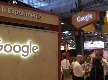 The stand of US technology internet-related services and products Google is pictured at the Viva Technology event, on June 15, 2017 in Paris.   / AFP PHOTO / BERTRAND GUAY