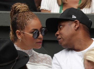 (FILES) This file photo taken on July 9, 2016 shows US singer Beyonce (L) and her husband US rapper Jay Z (R) sitting in the players box to watch Serena Williams play against Germany's Angelique Kerber during the women's singles final of the 2016 Wimbledon Championships in Wimbledon, southwest London. Pop diva Beyonce and her rap mogul husband Jay-Z have welcomed twins, according to multiple US media reports, with two new members joining music's royal family that already includes five-year-old Blue Ivy. / AFP PHOTO / POOL AND AFP PHOTO / Adam DAVY / RESTRICTED TO EDITORIAL USE