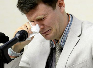 """(FILES) This file photo taken on February 29, 2016 and released by North Korea's official Korean Central News Agency (KCNA) on March 1, 2016 shows US student Otto Frederick Warmbier (R), who is arrested for committing hostile acts against North Korea, wiping his tears as he speaks at a press conference in Pyongyang. US student, Otto Frederick Warmbier, evacuated from North Korea died on June 19, 2017 according to his family. / AFP PHOTO / KCNA / knca via kns / North Korea OUT / REPUBLIC OF KOREA OUT --- RESTRICTED TO EDITORIAL USE - MANDATORY CREDIT """"AFP PHOTO / KCNA VIA KNS"""" - NO MARKETING NO ADVERTISING CAMPAIGNS - DISTRIBUTED AS A SERVICE TO CLIENTS  THIS PICTURE WAS MADE AVAILABLE BY A THIRD PARTY. AFP CAN NOT INDEPENDENTLY VERIFY THE AUTHENTICITY, LOCATION, DATE AND CONTENT OF THIS IMAGE. THIS PHOTO IS DISTRIBUTED EXACTLY AS RECEIVED BY AFP. ---EDITORS NOTE--- RESTRICTED TO EDITORIAL USE - MANDATORY CREDIT """"AFP PHOTO/KCNA VIA KNS"""" - NO MARKETING NO ADVERTISING CAMPAIGNS - DISTRIBUTED AS A SERVICE TO CLIENTS"""