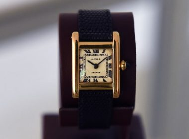 """A Signed Cartier, Tank Model,  Manufactured in 1962 belonging to Jacqueline Kennedy Onassis dubbed the """"The Jacqueline Kennedy Onassis Cartier Tank"""" is  display at Christie's in New York on June 20, 2017, a day before the Rare Watches and American Icons New York sale. / AFP PHOTO / TIMOTHY A. CLARY"""