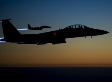 (FILES) This file photo taken by the US Air Forces Central Command and released by the Defense Video & Imagery Distribution System (DVIDS)  shows a pair of US Air Force F-15E Strike Eagles flying over northern Iraq early in the morning of September 23, 2014 after conducting airstrikes in Syria.   A US warplane shot down an Iran-made drone operated by pro-regime forces in southern Syria early on June 20, 2017, officials said, the second such incident in less than two weeks. The US-led coalition said in a statement that an F-15E Strike Eagle jet destroyed the Shaheed-129 drone around 12:30 am (2130 GMT) northeast of the Al-Tanaf garrison, which is close to the Jordanian border. / AFP PHOTO / US Air Forces Central Command / Senior Airman Matthew Bruch