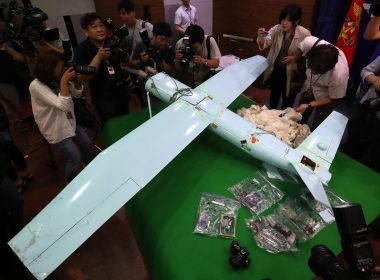 "An alleged North Korean drone is displayed to the media at the Defence Ministry in Seoul on June 21, 2017. South Korea described drones believed sent from North Korea a ""grave provocation"" in violation of the armistice and requested a UN probe into a drone that recently crashed at the border area. The small drone equipped with a camera took photos of the US's recently installed THAAD missile defense system in the southern region of South Korea, Seoul military said after retrieving it on June 9.   / AFP PHOTO / YONHAP / YONHAP /  - South Korea OUT / REPUBLIC OF KOREA OUT  NO ARCHIVES  RESTRICTED TO SUBSCRIPTION USE"