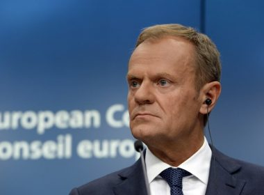 European Union Council President Donald Tusk speaks to journalists during a EU leaders summit on June 22, 2017 at the EU Council building in Brussels. / AFP PHOTO / THIERRY CHARLIER