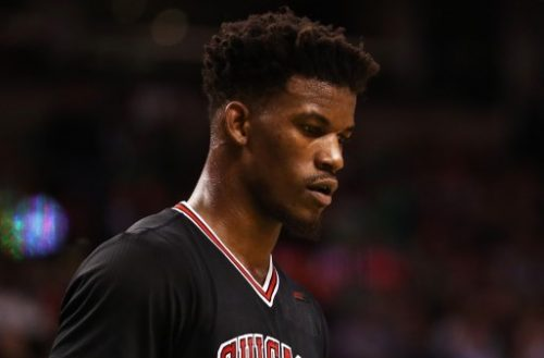 BOSTON, MA - APRIL 26: Jimmy Butler #21 of the Chicago Bulls looks on during the third quarter of Game Five of the Eastern Conference Quarterfinals against the Boston Celtics at TD Garden on April 26, 2017 in Boston, Massachusetts. NOTE TO USER: User expressly acknowledges and agrees that, by downloading and or using this Photograph, user is consenting to the terms and conditions of the Getty Images License Agreement.   Maddie Meyer/Getty Images/AFP