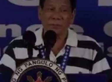 President Rodrigo Duterte in his first public appearance since taking several days off after a punishing schedule last weekend. (from RTVM video)