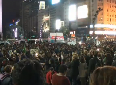Hundreds gathered in downtown Buenos Aires on Thursday (June 15) after the Argentine government announced cuts to pensions that could affect citizens living with disabilities. Photo grabbed from Reuters video file.