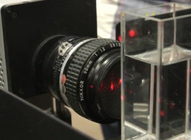 Researchers at Sweden's Lund University develop a camera contraption that can film at a rate equivalent to five trillion images per second.(photo grabbed from Reuters video)