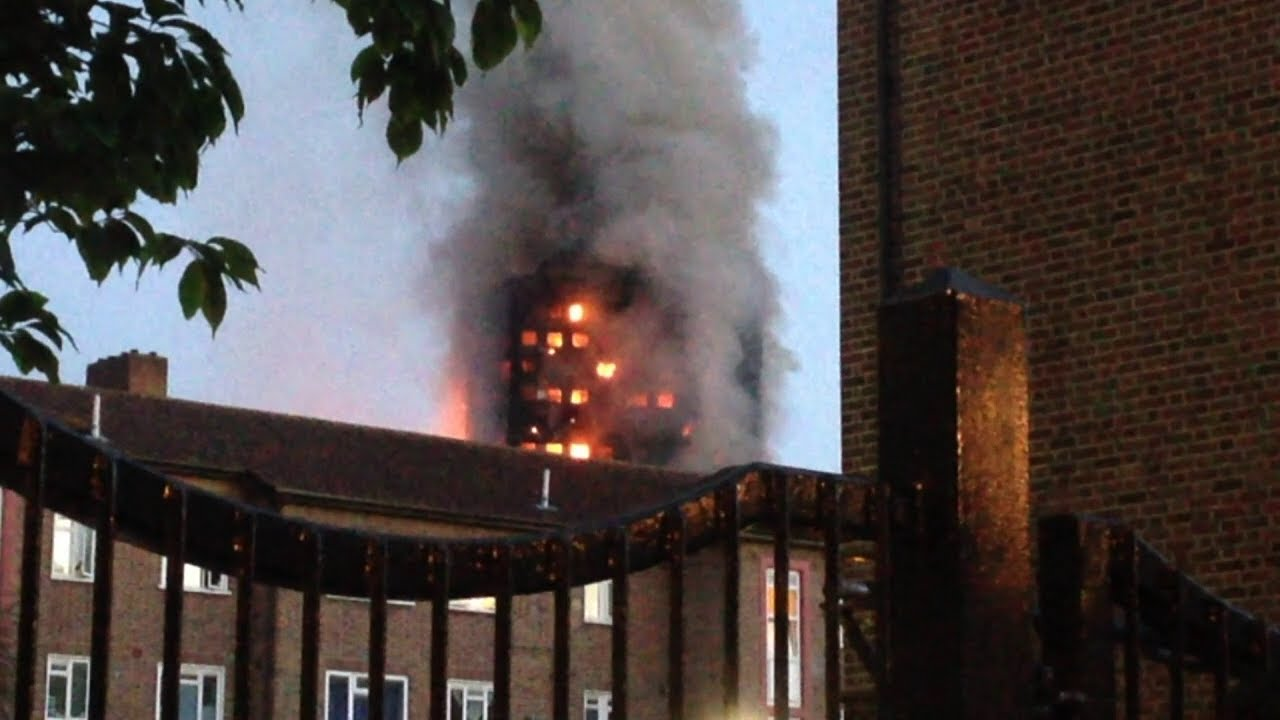 Video of fire that engulfed a 24-storey apartment block in London