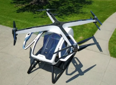 "The SureFly two-seater octocopter is unveiled at the Paris Air Show ahead of test flights later this year. It's described by US makers Workhorse as ""basically a massive drone"" and an easy-to-operate personal flying machine.(photo grabbed from Reuters video)"