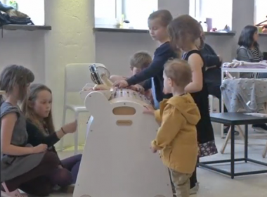 The Musicon's inventor says its rotating drum resembles a giant music box and can be programmed by children to play any melody, while at the same time inspiring them to develop a number of skills other than their musical sense.(photo grabbed from Reuters video)