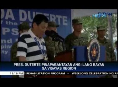 President Duterte orders close monitoring of several municipalities in Visayas region