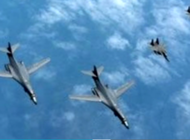 South Korea's military conducted a joint drill with two U.S. supersonic B-1B Lancer bombers on Tuesday (June 20) as part of a scheduled exercise.(photo grabbed from Reuters video)
