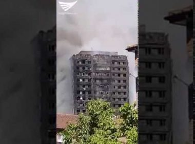 Video:  London apartment tower fire as seen from afar
