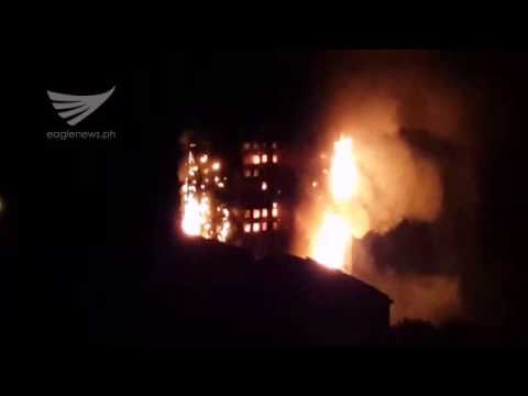 Video:  London tower fire as of 2:43 a.m. (June 14) showing whole building already in flames