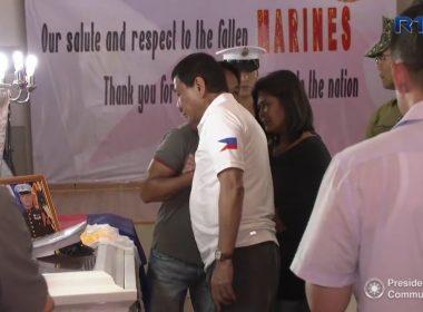 Video:  President Duterte's wake visit to Marines killed in Marawi