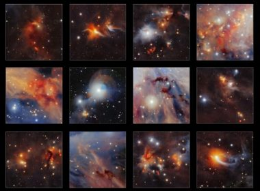 "A handout image released by the European Southern Observatory on January 4, 2017 shows a collection of highlights taken from a new infrared image of the Orion A molecular cloud from VISTA telescope, where many curious structures are clearly seen, including the red jets from very young stars, dark clouds of dust and even tiny images of very distant galaxies. The European Space Agency on January 4, 2017 released stunning images of baby stars taking shape inside the Milky Way's Orion nebula. The massive Orion A molecular cloud is the ""star factory"" closest to Earth, and has given astronomers a front-row seat to observe how stellar objects come into being.  / AFP PHOTO / European Southern Observatory / Handout / RESTRICTED TO EDITORIAL USE - MANDATORY CREDIT ""AFP PHOTO / EUROPEAN SOUTHERN OBSERVATORY"" - NO MARKETING NO ADVERTISING CAMPAIGNS - DISTRIBUTED AS A SERVICE TO CLIENTS"