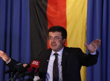 File Photo: Turkish Minister of Economy Nihat Zeybekci speaks at the Senators Hotel in Cologne, western Germany / AFP PHOTO /