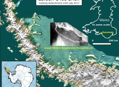 "This handout image received on July 12, 2017 from Swansea University shows an illustration depicting an iceberg detachment fron the Larsen C Ice Shelf.  A trillion-tonne iceberg, one of the biggest on record, has snapped off the West Antarctic ice shelf, said scientists on July 12, 2017 who have monitored the growing crack for months. / AFP PHOTO / SWANSEA UNIVERSITY / Adrian  Luckman / RESTRICTED TO EDITORIAL USE - MANDATORY CREDIT ""AFP PHOTO / SWANSEA UNIVERSITY/ADRIAN LUCKMAN"" - NO MARKETING NO ADVERTISING CAMPAIGNS - DISTRIBUTED AS A SERVICE TO CLIENTS"