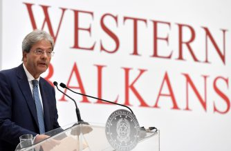 Italy's Prime Minister Paolo Gentiloni speaks during a press conference at the Western Balkans summit in Piazza Unita d'Italia in Trieste, northern Italy, on July 12, 2017.  / AFP PHOTO / TIZIANA FABI