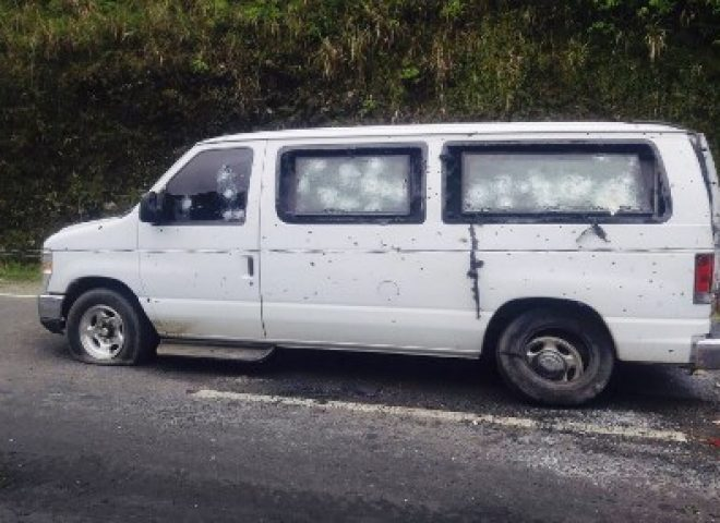 News in photo:  The bullet riddled vehicle of the PSG after the NPA attack