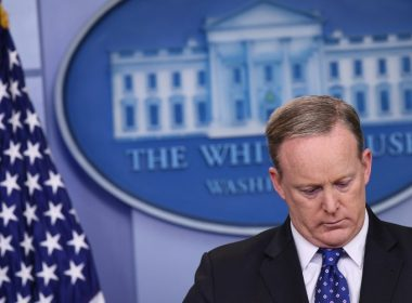 (FILES) File photo dated May 9, 2017 shows White House Press Secretary Sean Spicer during the daily briefing in the Brady Briefing Room of the White House in Washington, DC. Spicer resigned July 21, 2017 in protest at a major shake-up of Donald Trump's embattled administration, as pressure mounts from a broadening investigation into the Trump campaign's ties to Russia. Spicer quit in opposition to Trump's naming of Anthony Scaramucci, a Wall Street financier and longtime supporter of the billionaire investor-turned-president, as the new White House communications director, a White House official told AFP. / AFP PHOTO / Mandel NGAN