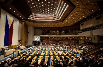 A general view shows the Plenary Hall of the House of Representatives where the joint session on martial law is taking place in Manila on July 22, 2017. The Philippine Congress opened a special session to vote on Duterte's bid for an extension of martial law in the south to defeat Islamist gunmen. Duterte is widely expected to win approval for martial law in the region until the end of the year, with troops having failed to wrest back Marawi city following two months of fighting. / AFP PHOTO / NOEL CELIS