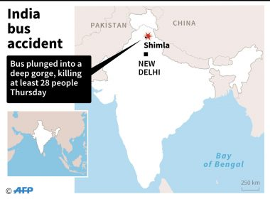 Map of India locating the area near Shimla where a bus crash killed at least 28 people on Thursday.