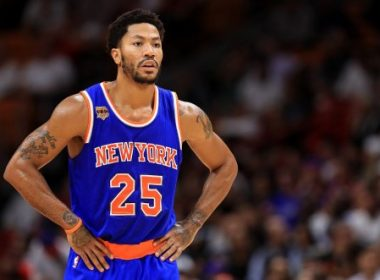 MIAMI, FL - DECEMBER 06: Derrick Rose #25 of the New York Knicks looks on during a game against the Miami Heat at American Airlines Arena on December 6, 2016 in Miami, Florida. NOTE TO USER: User expressly acknowledges and agrees that, by downloading and or using this photograph, User is consenting to the terms and conditions of the Getty Images License Agreement.   Mike Ehrmann/Getty Images/AFP