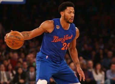 NEW YORK, NY - DECEMBER 25: Derrick Rose #25 of the New York Knicks dribbles the ball against the Boston Celtics at Madison Square Garden on December 25, 2016 in New York City. NOTE TO USER: User expressly acknowledges and agrees that, by downloading and or using this photograph, User is consenting to the terms and conditions of the Getty Images License Agreement.   Mike Stobe/Getty Images/AFP