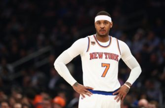 NEW YORK, NY - FEBRUARY 27: Carmelo Anthony #7 of the New York Knicks looks on against the Toronto Raptors during their game at Madison Square Garden on February 27, 2017 in New York City. NOTE TO USER: User expressly acknowledges and agrees that, by downloading and/or using this Photograph, user is consenting to the terms and conditions of the Getty Images License Agreement.   Al Bello/Getty Images/AFP