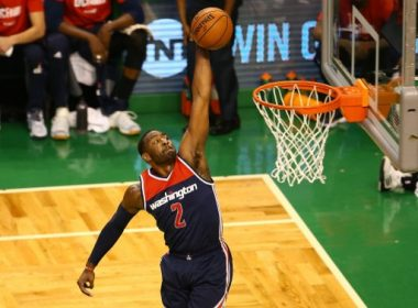 BOSTON, MA - MAY 15: John Wall #2 of the Washington Wizards dunks against Al Horford #42 of the Boston Celtics during Game Seven of the NBA Eastern Conference Semi-Finals at TD Garden on May 15, 2017 in Boston, Massachusetts. NOTE TO USER: User expressly acknowledges and agrees that, by downloading and or using this photograph, User is consenting to the terms and conditions of the Getty Images License Agreement.   Adam Glanzman/Getty Images/AFP