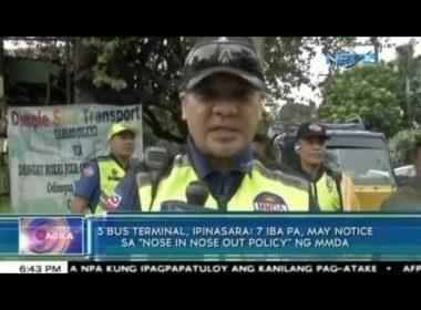 """3 bus terminal, ipinasara; 7 iba pa, may notice sa """"nose-in, nose-out policy"""" ng MMDA"""