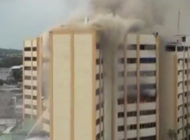 A major fire broke out in El Salvador's Finance Ministry on Friday (July 7) killing at least two people, injuring 22 others and prompting some inside to jump from the building before the blaze was extinguished. Photo grabbed from Reuter's video file.
