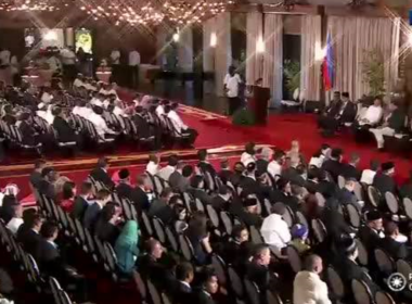 President Rodrigo Roa Duterte receives the proposed draft of the Bangsamoro Basic Law (BBL) in a turnover ceremony at the Rizal Hall in Malacañan Palace on July 17, 2017.  (Photo grabbed from RTVM video)