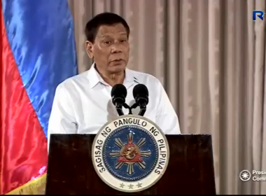 President Rodrigo Duterte in his speech during the mass oath-taking of presidential appointees and officials from various organizations in a ceremony at the Rizal Hall of Malacañan Palace on July 17, 2017.  (Photo grabbed from RTVM video)