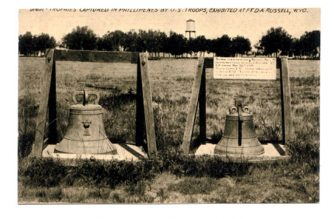 Two Balangiga bells exhibited at Fort D.A. Russel, now F. E. Warren Air Force Base located in Cheyenne, Wyoming in the United States.  (Photo courtesy wikimedia commons)
