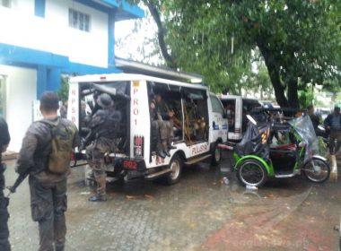 Policemen in San Nicolas, Pangasinan (Phoo by Juvy Barraca, Eagle News Service Pangasinan)