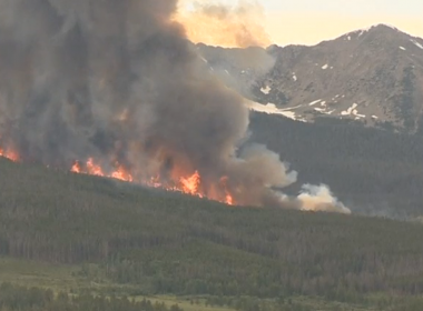 Colorado firefighters battled a wildland fire between the towns of Breckenridge and Frisco. Photo grabbed from Reuters video file.
