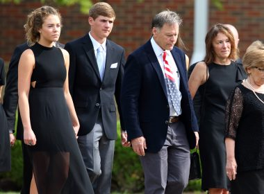 Fred(2ndR)and Cindy Warmbier(R)along with other members of the Warmbier family are seen leaving Wyoming High Schoolin Wyoming, Ohio on June 22, 2017, following the funeral for Otto Warmbier.  Warmbier an American university student who, while visiting North Korea as a tourist in January 2016, was arrested and sentenced to 15 years of hard labor after being accused of stealing a propaganda poster. Warmbier died on June 19, 2017 six days after retuning to the United States in a coma.  / AFP PHOTO / Paul Vernon