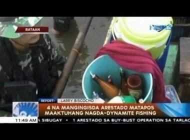 Apat na mangingisda, arestado matapos maaktuhang nagda-dynamite fishing