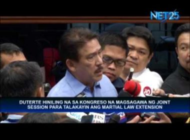 Senator Sotto: President Duterte called for special session to be held on Saturday to discuss martial law in Mindanao