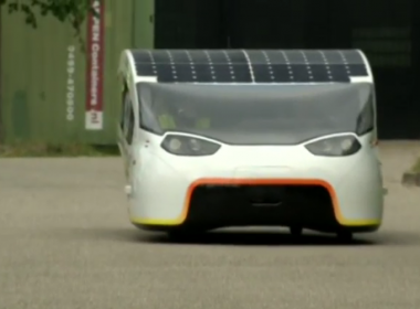 Solar car title holders say their new five-seater model marries style and high-speed performance.(photo grabbed from Reuters video)