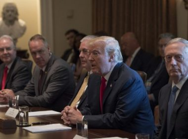 US President Donald Trump (2nd R) speaks during a cabinet meeting at the White House in Washington, DC, on July 31, 2017.        John Kelly was sworn in Monday as the new White House chief of staff, as US President Donald Trump looked to the retired Marine general for leadership after a shake-up of his top staff. Kelly, 67, is replacing Reince Priebus, who was forced out last week after the spectacular failure of Trump's bid to repeal Obamacare and as an ugly in-house feud spilled into the open.  / AFP PHOTO / JIM WATSON