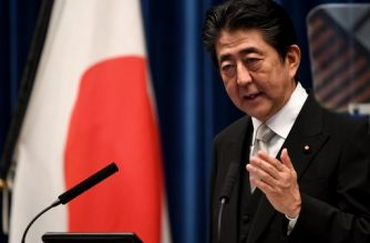 Japanese Prime Minister Shinzo Abe speaks during a press conference at his official resicence in Tokyo on August 3, 2017. Abe on August 3 dumped arch-conservatives and embraced critical voices in a cabinet revamp he hopes will stem a decline in public support after a series of scandals and missteps. / AFP PHOTO / TOSHIFUMI KITAMURA