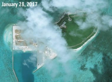 """This handout photo taken on January 28, 2017 by satellite imagery provider DigitalGlobe and released to AFP on August 11, 2017 by the Asia Maritime Transparency Initiative (AMTI) department at the Center for Strategic and International Studies (CSIS) think tank shows an overview satellite image of Tree Island in the disputed Paracels island chain in the South China Sea, showing new reclamation work and structures built. China is expanding artificial islands in disputed South China Sea areas despite saying it stopped two years ago, according to a security think tank that released satellite images it said showed the land reclamation. Beijing claims most of the sea and has been turning reefs in the Spratly and Paracel chains into islands, installing military aircraft and missile systems on them -- an activity the Asia Maritime Transparency Initiative (AMTI) said was continuing. / AFP PHOTO / CSIS / DigitalGlobe / -----EDITORS NOTE --- RESTRICTED TO EDITORIAL USE - MANDATORY CREDIT """"AFP PHOTO / CSIS Asia Maritime Transparency Initiative / DigitalGlobe"""" - NO MARKETING NO ADVERTISING CAMPAIGNS - DISTRIBUTED AS A SERVICE TO CLIENTS - NO ARCHIVES NOTE: STRICTLY FOR USE WITH AFP STORY ON IMAGE /"""