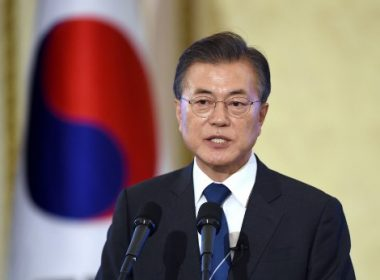 South Korea's President Moon Jae-In speaks during a press conference marking his first 100 days in office at the presidential house in Seoul on August 17, 2017. There will be no war on the Korean peninsula, South Korean President Moon Jae-In said on August 17, saying Seoul effectively had a veto over US military action in response to the North's nuclear and missile programmes. / AFP PHOTO / POOL / JUNG Yeon-Je